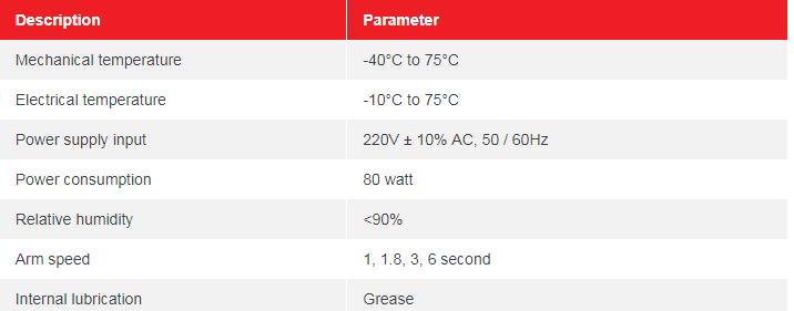 Thông số kỹ thuật BARIE TỰ ĐỘNG BR530 – 6S