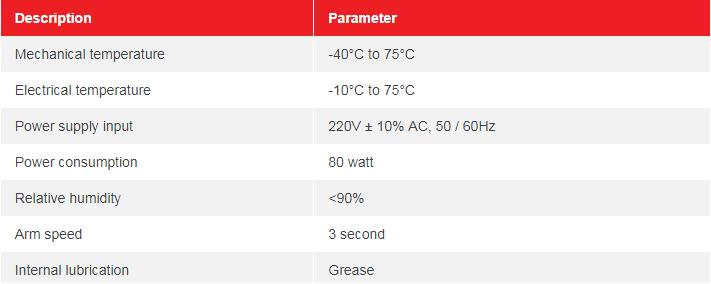 Thông số kỹ thuật BARIE TỰ ĐỘNG BR530-90