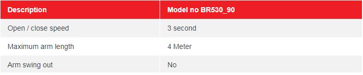 Thông tin khác về barrier tự động tay gập BR530-90: