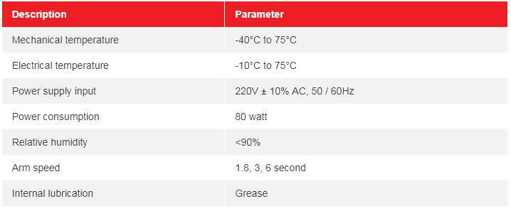 Thông số kỹ thuật BARRIER TỰ ĐỘNG BR618T-1.8S