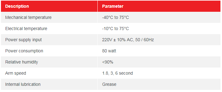 Thông số kỹ thuật barrier tự động BR 660T