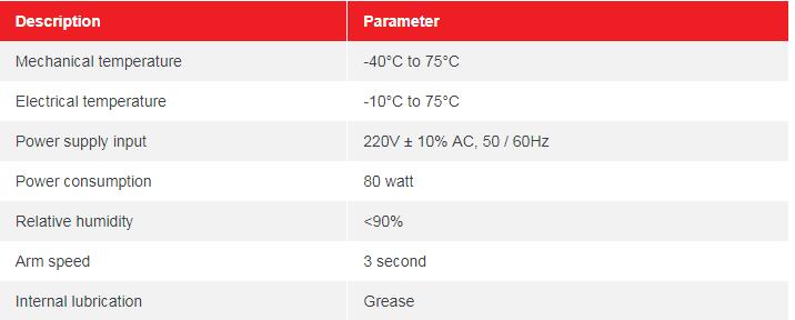 Thông số kỹ thuật của barrier tự động tay gập BR630T-90