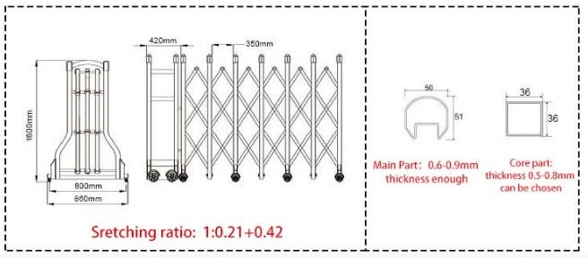 kích thước cổng xếp inoox PT-B01