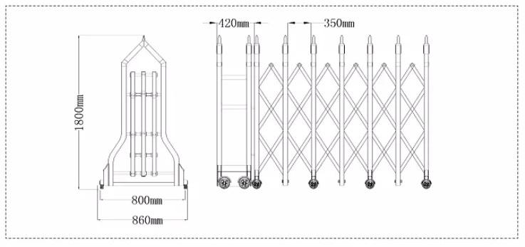 kích thước cổng xếp innox PT-J1722